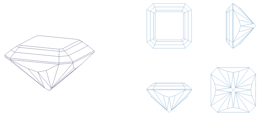Barion Square - A favorite gem design. Contact bespoke artisan gemcutter, Doug Menadue :: Bespoke Gems, to have your next gem personally hand faceted in this design.