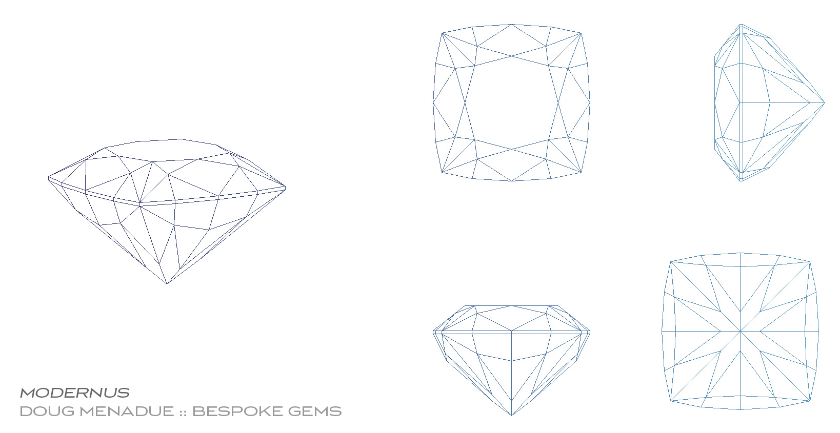 Rhapsody Square - A unique design created by bespoke artisan gemcutter, Doug Menadue :: Bespoke Gems. This design is perfect for sapphires, aquamarine, topaz, tourmaline, garnets, zircons.