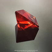 A beautiful 5ct gem of red oregon sunstone cut in a modern design called tesss pentagram. This red colour is incredible, a real fire-engine red!  - DOUG MENADUE :: BESPOKE GEMS :: Finest Precision Custom Gemcutting Based In Sydney Australia - WWW.BESPOKE-GEMS.COM