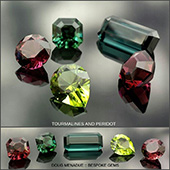 A beautiful selection of coloured gems that I finished recently. There are four tourmalines and a lone peridot. Such wonderful and intense colours... devine. :-)  - DOUG MENADUE :: BESPOKE GEMS :: Finest Precision Custom Gemcutting Based In Sydney Australia - WWW.BESPOKE-GEMS.COM