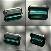 An exceptional indicolite blue tourmaline finished in the classic Emerald Cut design. A lovely fine flawless gem 7x15mm 5.4 carats.   - DOUG MENADUE :: BESPOKE GEMS :: Finest Precision Custom Gemcutting Based In Sydney Australia - WWW.BESPOKE-GEMS.COM