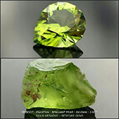 Before and After... A super pakistani peridot... bright green and on fire! This one is cut in the Brilliant Pear design and is 8x10mm 2.6 carats. Magic!  - DOUG MENADUE :: BESPOKE GEMS :: Finest Precision Custom Gemcutting Based In Sydney Australia - WWW.BESPOKE-GEMS.COM