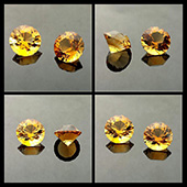 Citrines :: matched pair :: 2ct :: 8x8x6mm :: brazil :: SG1. Cut these beauties the other day, lovely rich golden color, nice and eye clean.  The client wants them for a pair of earrings... Should look stunning. - DOUG MENADUE :: BESPOKE GEMS :: Finest Precision Custom Gemcutting Based In Sydney Australia