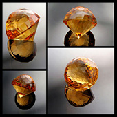 Flame orange citrine :: 11.4ct :: 13x13mm :: brazil :: kalli 185 facets :: this gem is a true collectors stone. Its big beautiful and in the sunlight just totally dazzling. Its got alot of facets and took several days to cut. Cutting big quartz stones can take a while and you need ALOT of patience especially with this many facets. - DOUG MENADUE :: BESPOKE GEMS :: Finest Precision Custom Gemcutting Based In Sydney Australia