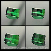 Green Tourmaline :: Smith Bar :: 8ct :: 9x13.7x7.3mm :: Doug Menadue :: Bespoke-Gems :: This is top shelf Afgan green tourmaline and is truly a magnificent gem.  Of all the tourmaline out there, this particular material really is one of my favorites. The colour is so rich and this stone has an open c axis of a brighter lime green and that helps bring in light from a different angle into the stone. This gem is a gem of many colors green, a fine tourmaline.   - DOUG MENADUE :: BESPOKE GEMS :: Finest Precision Custom Gemcutting Based In Sydney Australia - WWW.BESPOKE-GEMS.COM