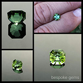 Green tourmaline :: 1.3ct :: 6x6x5.5mm :: africa :: Here is that sweet little green tourmaline I was cutting. It turned out to be a superb gem and is one of those rare gems that look great in every lighting condition.  Often gems will close upand go dark at night but not this beauty... At night under lights this one is a stunner! - DOUG MENADUE :: BESPOKE GEMS :: Finest Precision Custom Gemcutting Based In Sydney Australia
