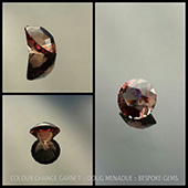 Here is a very fine colour change garnet that I recently cut for a client.  It exhibits a very strong change... Under lights it is a deep pink raspberry.  In natural light it is an olive tan. It is 10mm and 4.7 carats, eye clean with an ideal saturation. This gem is available for sale from the client.  If you are interested then please contact me. dmenadue@yahoo.com  - DOUG MENADUE :: BESPOKE GEMS :: Finest Precision Custom Gemcutting Based In Sydney Australia - WWW.BESPOKE-GEMS.COM