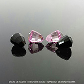 Just finished a custom order for two matched pairs of stretched acorns 7x7x9mm in absolute black jade and synthetic pink Sapphire.  Pretty groovy gems.  - DOUG MENADUE :: BESPOKE GEMS :: Finest Precision Custom Gemcutting Based In Sydney Australia - WWW.BESPOKE-GEMS.COM