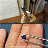 Just finished a string of round brilliants for a customer.  This was the seventh stone and is an exceptionally fine natural blue sapphire. In fact it is one of the finest little blues Ive cut. It is rich royal blue colour with ideal saturation. It is flawless and the colour natural. From what I understand the customer found this sapphire around the Inverell gemfields in NSW, Australia. It turned out to be 6mm and 1.3ct. A beautiful stone.  - DOUG MENADUE :: BESPOKE GEMS :: Finest Precision Custom Gemcutting Based In Sydney Australia - WWW.BESPOKE-GEMS.COM
