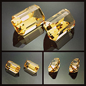 Match pair of golden beryl bespoke gems (heliodor) :: emerald cut :: 2.9ct each :: 6x11x6mm :: these gems are perfectly matched with they came from the same piece of rough that was supplied by the customer. The colors are superb golden yellows and the gems very bright. Top golden beryls. - DOUG MENADUE :: BESPOKE GEMS :: Finest Precision Custom Gemcutting Based In Sydney Australia