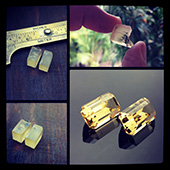 Matched pair of golden beryl (heliodor) bespoke gems :: emerald cut :: 2.9 ct each :: 6x11x6mm :: these stunning gems were cut from the same piece of rough.  These pics show the before and after. I call these sibling stones. - DOUG MENADUE :: BESPOKE GEMS :: Finest Precision Custom Gemcutting Based In Sydney Australia