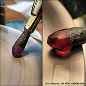 Nigerian pink tourmaline on its way to becoming a round brilliant. This is a deep rich pink and will be totally delicious when finished.   - DOUG MENADUE :: BESPOKE GEMS :: Finest Precision Custom Gemcutting Based In Sydney Australia - WWW.BESPOKE-GEMS.COM