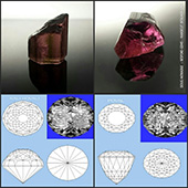 Ok folks, I need your help here.  Ive got this nice big piece of Nigerian pink tourmaline weighing in at 30 carats and I think the time has come to facet it. Now, its a fairly deep piece and Ive got two design options that Im considering. The first is KALLI which is an oval dome and the other is POVAL which has a very deep pavilion underneath. So one is high and the other low. Both will cut around the 9x11mm. KALLI has 185 facets and POVAL has 225 facets and being ovals both will be monsters in terms of effort to cut. Ive included both designs and the rough in the pic. So Im throwing it open to see what you all would like done with this beautiful piece of rough. Im also open to other design ideas and suggestions. So leave a comment and let me know your thoughts. Cheers! :-)  - DOUG MENADUE :: BESPOKE GEMS :: Finest Precision Custom Gemcutting Based In Sydney Australia - WWW.BESPOKE-GEMS.COM