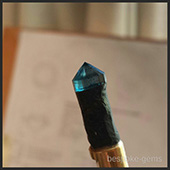 On the dopstick is a nice gemmy piece of harts range kyanite. Not a stone you see faceted everyday.  The color is devine. - DOUG MENADUE :: BESPOKE GEMS :: Finest Precision Custom Gemcutting Based In Sydney Australia
