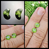 Peridot :: matched pair :: 2.3ct each :: 8x8mm :: pakistan :: mini mints :: a beautiful matched pair of pakistani peridots perfect for earrings. - DOUG MENADUE :: BESPOKE GEMS :: Finest Precision Custom Gemcutting Based In Sydney Australia