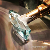 Polishing the crown on this natural blue topaz beauty. 153 facets on this bespoke gem. - DOUG MENADUE :: BESPOKE GEMS :: Finest Precision Custom Gemcutting Based In Sydney Australia
