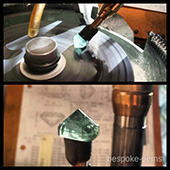 Polishing the pavilion on this nice aquamarine. This is a beautiful and rare Australian gem. - DOUG MENADUE :: BESPOKE GEMS :: Finest Precision Custom Gemcutting Based In Sydney Australia