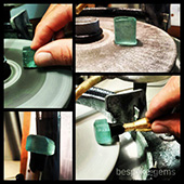 Preforming the piece of aqua. The idea is to grind away all the extraneous material so that we end up with the actual block of workable material. - DOUG MENADUE :: BESPOKE GEMS :: Finest Precision Custom Gemcutting Based In Sydney Australia