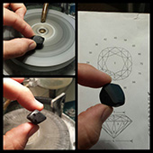 The first challenge that this black spinel poses is due to the sharp angular edges and corners. So that I have a better idea of exactly how to orientate the stone I need first to preform the stone a bit. Ill round the edges and corners. You can see the design that Im cutting. - DOUG MENADUE :: BESPOKE GEMS :: Finest Precision Custom Gemcutting Based In Sydney Australia