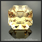 This is a beautiful and very sunny golden beryl, weighing in at 10.3 carats and 12.8mm. It is cut in the classic Asscher Cut design and is an exceptional gemstone in all respects. It has a very bright and happy aspect, a really nice gem that has great action and performance, the internal facet patterns making a very lively gem that is full of life.�It is a big stone and would make the ulimate cocktail ring, so if you like your gemstones big this is the one for you.  The colour is far better in person then the pics suggest, the camera can only do so much when it comes to capturing the myriad colours in a stunning gem. It is a gem that I am very happy with and one that I know you will be too. A truly wonderful golden beryl gemstone. * FOR SALE *  - DOUG MENADUE :: BESPOKE GEMS :: Finest Precision Custom Gemcutting Based In Sydney Australia - WWW.BESPOKE-GEMS.COM