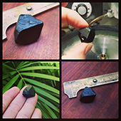 Today Im cutting a big beautiful black spinel. This bespoke gem was commissioned by the client who sent me the black spinel to cut. It is a very fine stone and a good specimen. The plan is to cut one of my square cushion designs, the Victoria Regent, as big as possible.  Im hoping to get around 15mm. The original weight of the stone is a little over 62ct. - DOUG MENADUE :: BESPOKE GEMS :: Finest Precision Custom Gemcutting Based In Sydney Australia