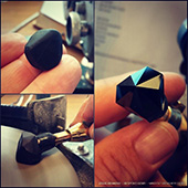Transforming a big black spinel from a waterworn pebble into a glossy polished Tuts Pyramid. Should be about 15mm when done. This stone was found by the client in the Weld River in Tasmania.  - DOUG MENADUE :: BESPOKE GEMS :: Finest Precision Custom Gemcutting Based In Sydney Australia - WWW.BESPOKE-GEMS.COM