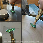 Working on that matched pair of green tourmalines.  - DOUG MENADUE :: BESPOKE GEMS :: Finest Precision Custom Gemcutting Based In Sydney Australia - WWW.BESPOKE-GEMS.COM