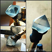 You can start to see the asscher design taking shape on this natural blue topaz.  - DOUG MENADUE :: BESPOKE GEMS :: Finest Precision Custom Gemcutting Based In Sydney Australia - WWW.BESPOKE-GEMS.COM