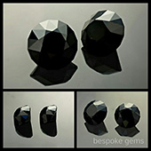 black spinel :: 7x7mm :: 1.85ct :: round brilliant :: rubyvale, qld, australia :: a beautiful glossy matched pair of natural black spinels from the central queensland gemfields in Australia. These were hand dug many years ago.  I just finished cutting them this week for a client. - DOUG MENADUE :: BESPOKE GEMS :: Finest Precision Custom Gemcutting Based In Sydney Australia