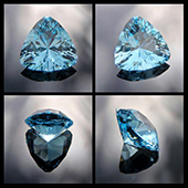 blue topaz :: 10.5ct :: 14.3x14.3x8.5mm :: pakistan :: trouble with tribbles :: top blue topaz cut in one of my favorite trillion designs, a top little performer. - DOUG MENADUE :: BESPOKE GEMS :: Finest Precision Custom Gemcutting Based In Sydney Australia