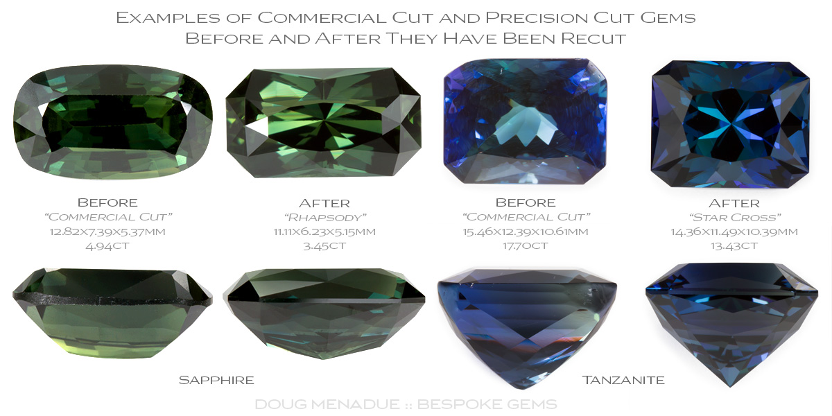 Before and after examples of two gems