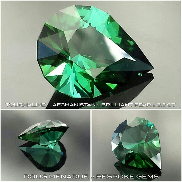 A beautiful Afghan tourmaline cut in the very bright BRILLIANT PEAR design,  3.3 carats. This was a custom order for a client. Top colour.  WWW.BESPOKE-GEMS.COM - Precision Gemcutting and Lapidary Services Located In Sydney Australia