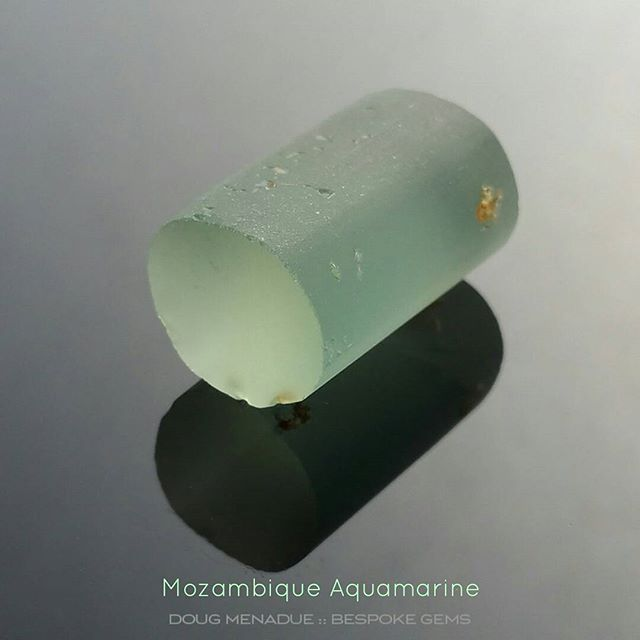 A beautiful piece of natural Mozambique aquamarine with that classic greenish blue colour. This piece will best cut a matched pair of round shaped gems,  I recommend the Antique Round design. I think they will cut around 12mm and eye clean or very close to it. This piece is available to be cut. Contact me for more details.  DOUG MENADUE  WWW.BESPOKE-GEMS.COM  SYDNEY CBD AUSTRALIA - Precision Gemcutting and Lapidary Services Located In Sydney Australia