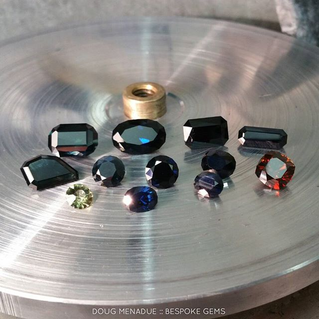 A dozen lovelies on their way to a happy client.  11 sapphires and one zircon all cut from their own rough. It was a bit of a mission but they turned out real nice.  DOUG MENADUE  WWW.BESPOKE-GEMS.COM - Precision Gemcutting and Lapidary Services Located In Sydney Australia