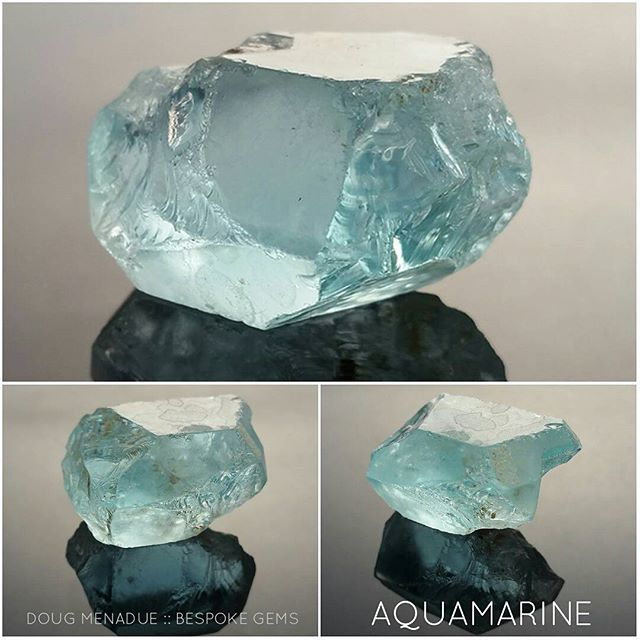 A lovely 106 carat piece of aquamarine that should cut a spectacular gemstone. I'm thinking maybe go big and classic like an Asscher Cut. It might be around 15mm or even bigger. If you are interested in such a large Asscher let me know as I'll be cutting it soon and it will be available for purchase.  DOUG MENADUE  WWW.BESPOKE-GEMS.COM  SYDNEY CBD AUSTRALIA - Precision Gemcutting and Lapidary Services Located In Sydney Australia