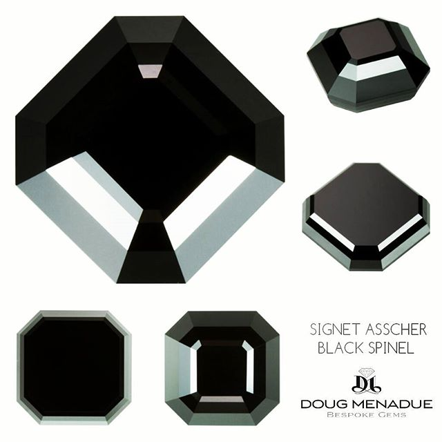 A lustrous and glossy Australian black spinel finished in my Signet Asscher design. This beauty is 3.33 carats,  8mm in size and is a pure jet black colour, it is the black gemstone of choice. This fine gem is now in the hands of Sydney jewellery designer @nicholashaywoodjewellery for an upcoming collection.  DOUG MENADUE  WWW.BESPOKE-GEMS.COM  SYDNEY CBD AUSTRALIA - Precision Gemcutting and Lapidary Services Located In Sydney Australia