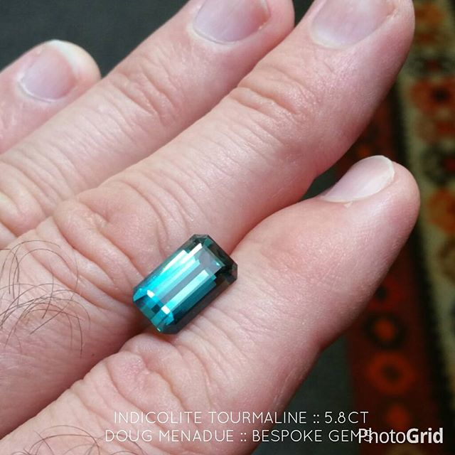 A nice 5.8 carat Afghan indicolite tourmaline recut i finished the other day. A nice clean open 'c' blue,  a beautiful stone and available for purchase. Contact me for details. If you are in Sydney it is available for inspection at any time.  WWW.BESPOKE-GEMS.COM  WWW.KINGSTONEGEMS.COM - Precision Gemcutting and Lapidary Services Located In Sydney Australia