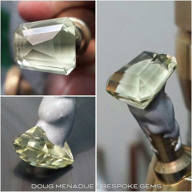 A nice little heliodor beryl being crafted into a tapered step cut. Something a little different.  WWW.BESPOKE-GEMS.COM - Precision Gemcutting and Lapidary Services Located In Sydney Australia