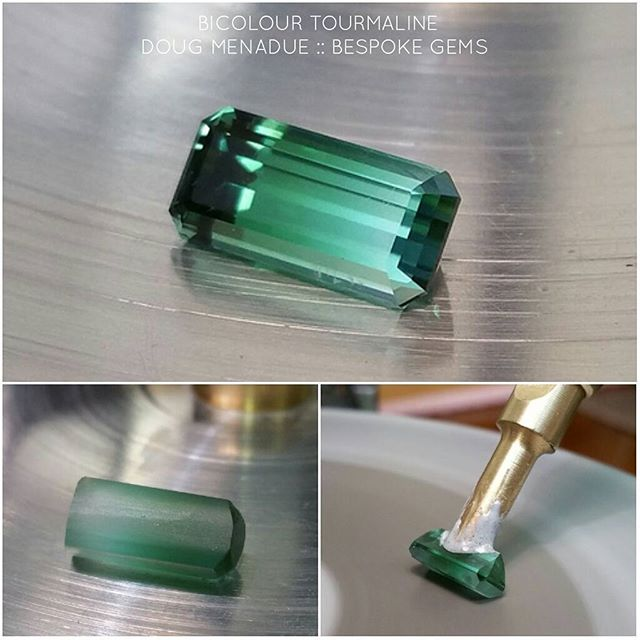 A sweet little bicolour tourmaline finished in the classic Emerald Cut design. Custom order cut for a client. I love these little tourmalines, magic stones.  WWW.BESPOKE-GEMS.COM  SYDNEY CBD AUSTRALIA - Precision Gemcutting and Lapidary Services Located In Sydney Australia