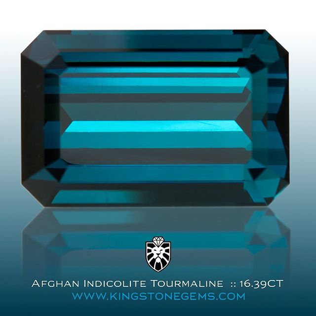 AFGHAN BLUE INDICOLITE  TOURMALINE - 16.39CT - 17.6X11.6x8.7MM - EMERALD CUT - #150374 - A superb and extra fine natural blue indicolite tourmaline from Afghanistan  that has been precision cut and polished in the classic Emerald Cut design. A deep blue azure color that is vivid and rich with great depth of character. This fine gem would suit either investment or wear, it's large size, excellent color, eye clean clarity, high make and fine water all combine to identify a first class blue tourmaline gemstone.  WWW.KINGSTONEGEMS.COM  SYDNEY CBD AUSTRALIA - Precision Gemcutting and Lapidary Services Located In Sydney Australia