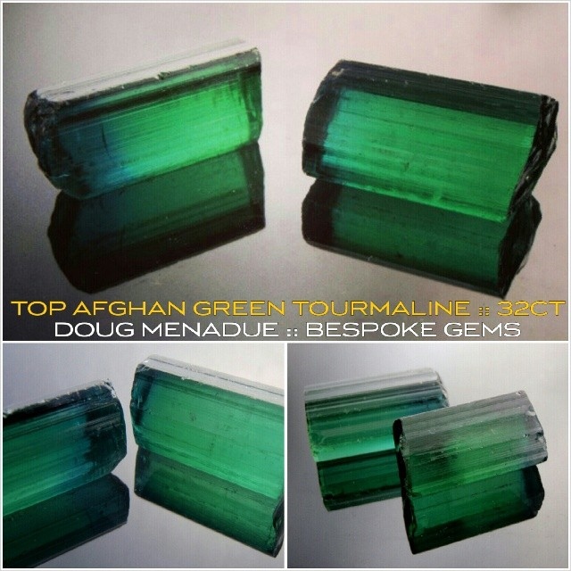 AFGHAN GREEN TOURMALINE!!! Here are two of the finest pieces of this wonderful material that you could hope to find. I've had these tucked away for years. I have always loved this type of green tourmaline from Afghanistan. It is rich,  velvety and simply devine. These two stones are perfectly matched in colour and actually have a blue cap on one end. I'm hoping to get around 10x18mm and I'm going to cut them in my all time favorite design for this particular type of stone... THE SMITH BAR. I think these are going to be superb gems and a very very rare offering. Stay tuned folks. :-) WWW.BESPOKE-GEMS.COM - Precision Gemcutting and Lapidary Services Located In Sydney Australia