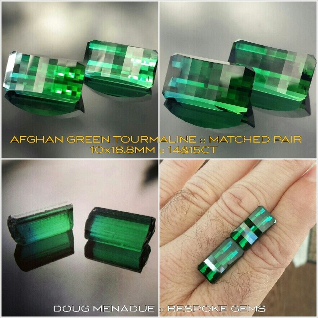 AFGHAN GREEN TOURMALINE :: SMITH BAR :: MATCHED PAIR :: 10X18.8MM :: 13.9 & 15.3CT :: Here are two of the finest tourmalines of this type that you could hope to find. They are exceptional gems in all regards and they are very well matched which makes them even rarer. One has a noticable blue zone near one end. The other has a touch of blue but not as noticable. They would make a very special pair of earrings or perhaps a pair of cufflinks. Alternatively they represent very good investment or collector gems. This pair of gems is a very special and rare offering, truly unique. These gems are available and will be sold as a pair. Contact me for more details. Serious inquiries only.  dmenadue@yahoo.com  WWW.BESPOKE-GEMS.COM - Precision Gemcutting and Lapidary Services Located In Sydney Australia