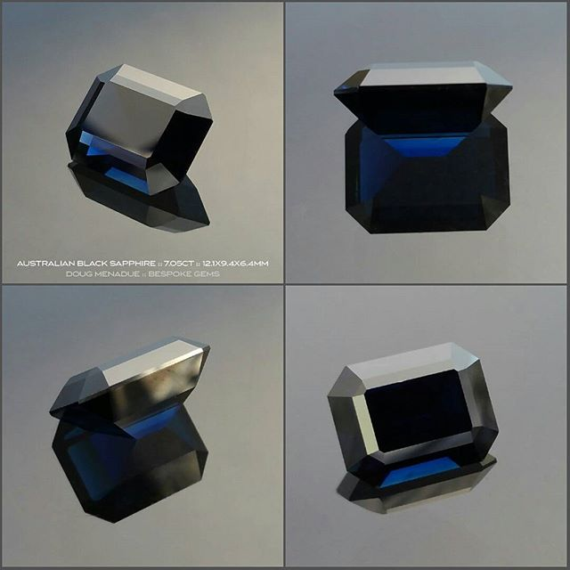 AUSTRALIAN BLACK SAPPHIRE :: 7.05CT :: 12.1x9.4x6.4MM :: Within the depths of this remarkable Australian sapphire you will find the most wonderful and vivid flashes of blue, a deep rich blue that is striking in it's intensity. It is a dark stone and I'd say this sapphire is on the borderline of being a black sapphire. With sapphires, when the colour approahes this sort of depth they can become known as ''black'' sapphires.  This black sapphire is part of an old time digger's collection that he built over the years and it now being put up for sale. It has been precision cut and polished locally on the gemfields and is a first class sapphire in every regard. For those folks that have a penchant for dark or black gemstones then this is perfect for you and not to be missed as it is a unique black sapphire.  Visit my WHAT'S NEW  page on my website for full details.  DOUG MENADUE  WWW.BESPOKE-GEMS.COM  SYDNEY CBD AUSTRALIA - Precision Gemcutting and Lapidary Services Located In Sydney Australia