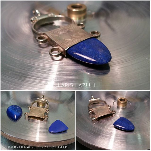 All sorts of odd jobs. Had to make a shape out of lapis to go in this silver Moroccan pendant.  The jeweler supplied a plastic template for me to match.  DOUG MENADUE  WWW.BESPOKE-GEMS.COM  SYDNEY CBD AUSTRALIA - Precision Gemcutting and Lapidary Services Located In Sydney Australia