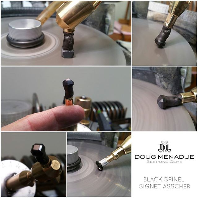 Another black spinel signet asscher in the works. This one will be 8mm.  DOUG MENADUE  WWW.BESPOKE-GEMS.COM - Precision Gemcutting and Lapidary Services Located In Sydney Australia