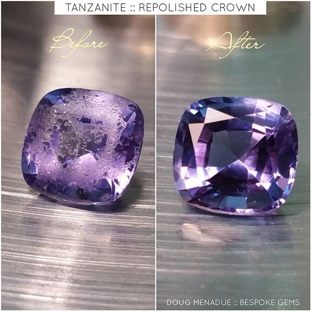 Another gemmy facelift. This was an old worn tanzanite cushion,  now it looks like new.  Original weight was 1.93ct, new weight is 1.88ct. Only lost 5 points. If you've got an old gem that needs a facelift, please don't hesitate to get in touch. :-) DOUG MENADUE  WWW.BESPOKE-GEMS.COM - Precision Gemcutting and Lapidary Services Located In Sydney Australia
