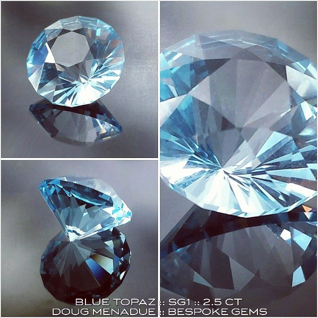 BLUE TOPAZ :: SG1 :: 2.5 CT :: A stunning,  clear and crisp blue topaz, perfect for the cocktail ring.  WWW.BESPOKE-GEMS.COM - Precision Gemcutting and Lapidary Services Located In Sydney Australia
