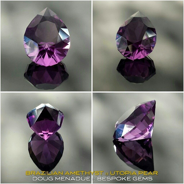 BRAZILIAN AMETHYST :: UTOPIA PEAR :: 3.3 CT :: A beautiful amethyst in a classic cut.  WWW.BESPOKE-GEMS.COM - Precision Gemcutting and Lapidary Services Located In Sydney Australia