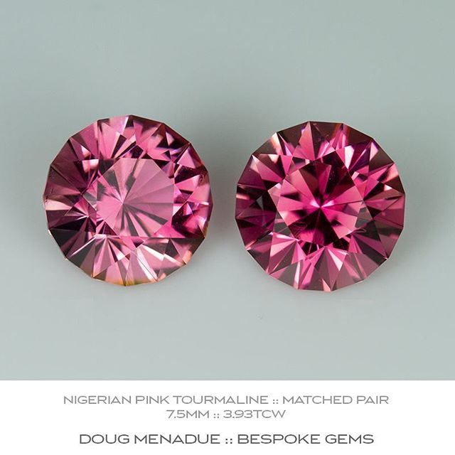 Beautiful matched pair of precision cut Nigerian pink tourmaline perfect for earrings or studs.  7.5mm 3.93ct. For sale. Contact me for more info.  DOUG MENADUE  WWW.BESPOKE-GEMS.COM - Precision Gemcutting and Lapidary Services Located In Sydney Australia