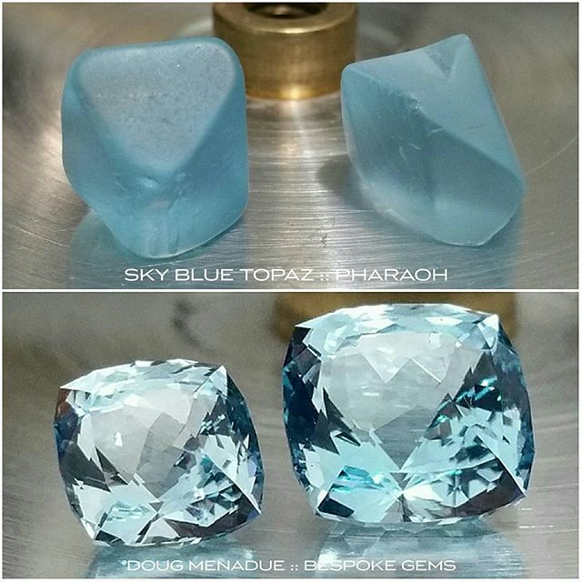 Before and after... a pair of sky blue topaz cut in the Pharaoh design.  WWW.BESPOKE-GEMS.COM :: SYDNEY :: AUSTRALIA - Precision Gemcutting and Lapidary Services Located In Sydney Australia